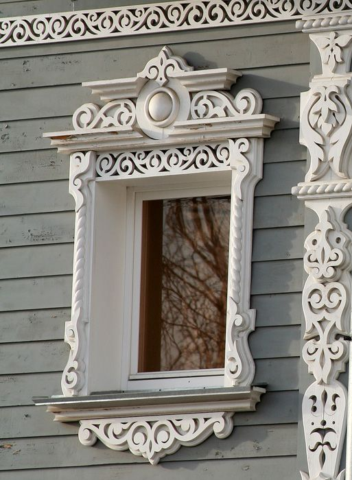 City of Vologda, Russia. Typical Intricate trim adding some great detail to house and around window.