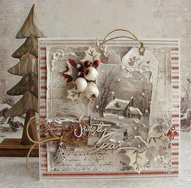 Скрапбукинг открытка новый год рождество
