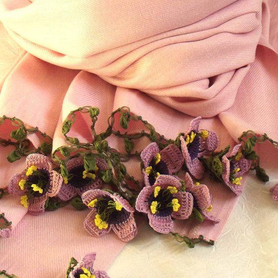 Turkish OYA Lace  Pashmina Flower stole  Soft by DaisyCappadocia