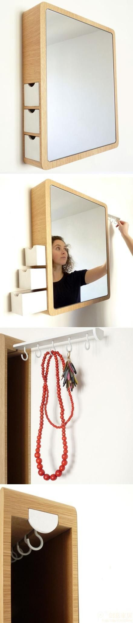 Design by Les M studio, this clever makeup mirror comes with hidden hanger and sliding storage boxs: Small Apartments, Hidden Storage, Bathroom Mirrors, Jewelry Storage, Storage Boxes, Makeup Mirrors, Sliding Storage, Clever Makeup, Hidden Hangers