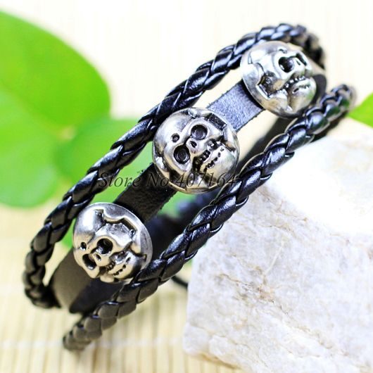 CB6- punk handmade skeleton style ethnic tribal zinc alloy black leather bracelets men free shipping