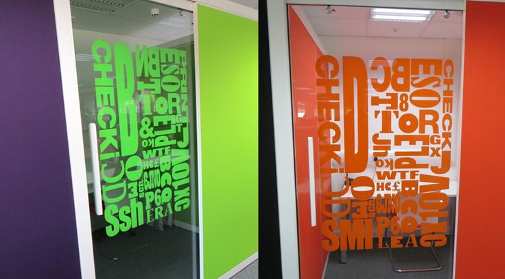 Coloured cut vinyl applied to office glass. This typography window graphic transformed these meeting rooms into creative fun spaces. By Space3.co.uk