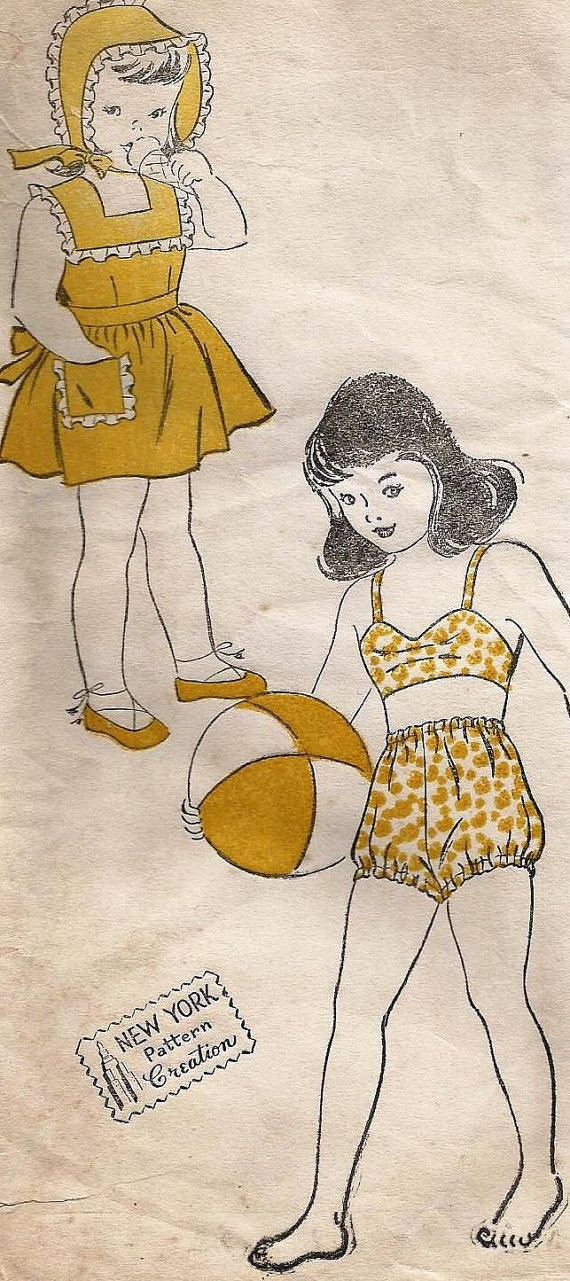1940s New York Patterns sewing pattern 1872 child playsuit and pinafore and bathing suit