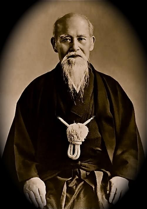 """Ō-Sensei, Morihei Ueshiba (1883-1969) - The Founder of Aikido. """"The real birth of Aikido came as the result of three instances of spiritual awakening that Ueshiba experienced. The first happened in 1925, after Ueshiba had defeated a naval officer's bokken (wooden katana) attacks unarmed and without hurting the officer. Ueshiba then walked to his garden and had a spiritual awakening."""""""