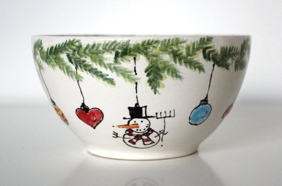 Christmas Bowl Colorful Cereal Yogurt Bowl Soup Bowl Fruit Bowl Serving Bowl Hand Painted Personalized Ceramics Pottery Gift High Tea on Etsy, $49.21
