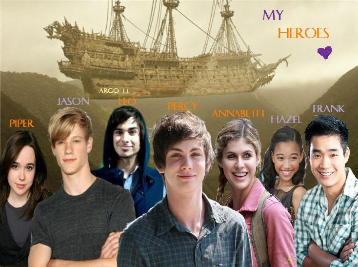 Percy Jackson. These are the faces I picture when I read the Heroes of Olympus books. Or at least how I would cast the movies. Ellen Page as Piper. Lucas Till as Jason. Joey Richter IS Leo. Logan and Alex as Percy and Annabeth. Amandla Stenberg as Hazel. And Donald Heng as Frank. These are my Heroes :)