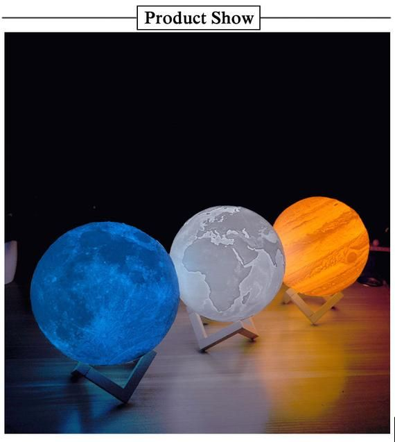Jupiter Lamp 3d Print Moon Rechargeable Lithophane With Touch Etsy Planet Lamp Night Light Beautiful Lamp