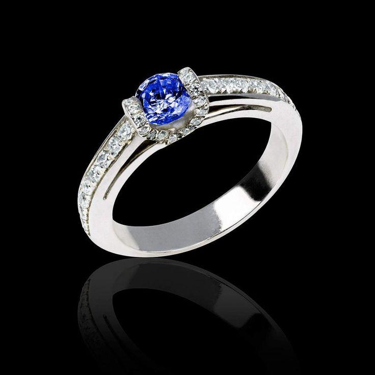 Bague de fiançailles saphir bleu Hera - Maison Jaubalet