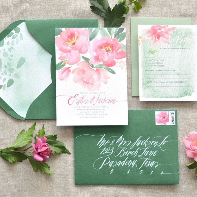 """Brides.com: . """"Coral Charm"""" watercolor wedding invitation suite, price available upon request, Julie Song Ink"""