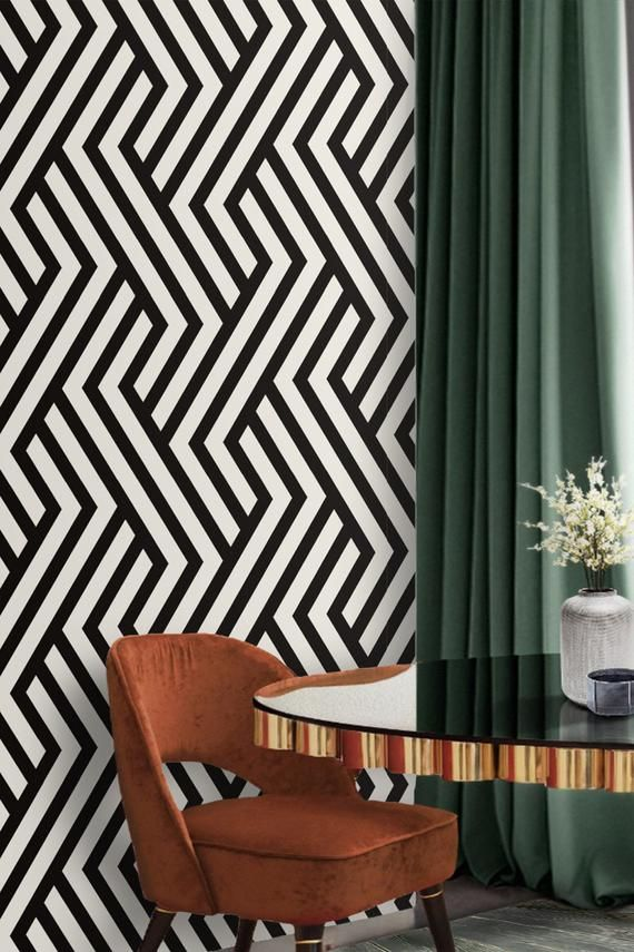 Black And White Art Decoremovable Wallpaper Self Adhesive Etsy In 2021 Modern Wallpaper Accent Wall Wallpaper Accent Wall White And Gold Wallpaper