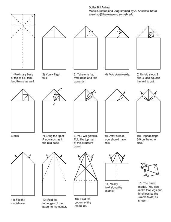 free folding diagram  bull money origami instructions