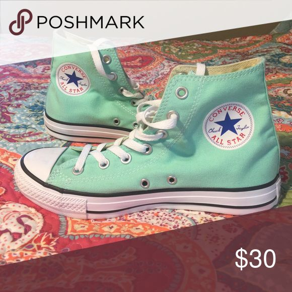 Turquoise Converse New converse!! They have only been worn two or three times. Women's size 8!! Converse Shoes Sneakers