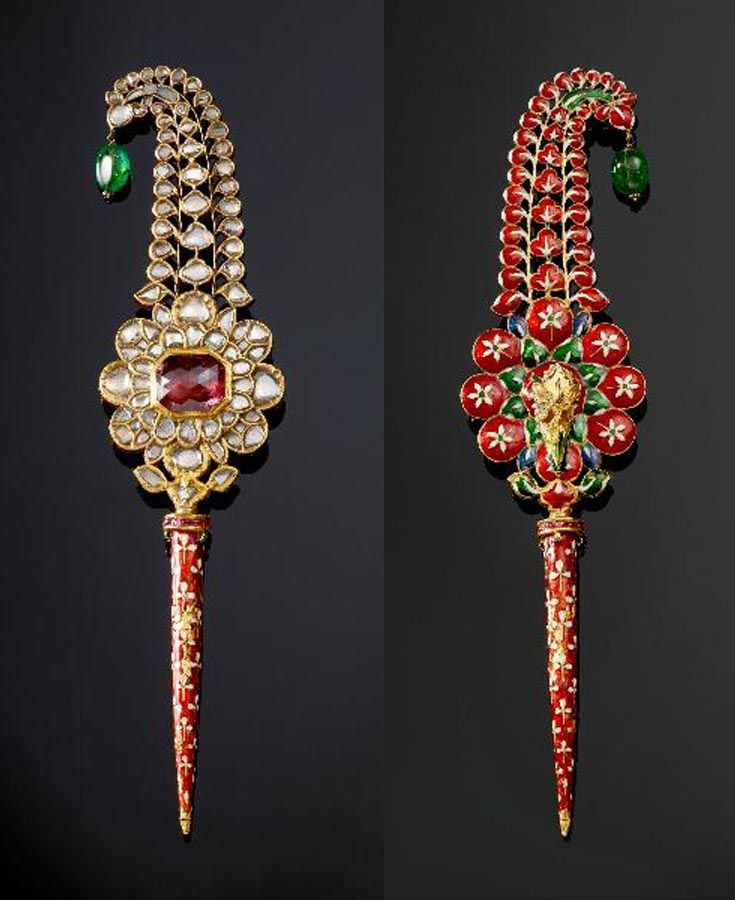 North India | Turban ornament ~ jigha ~ gold, set with spinel, diamonds, rubies…