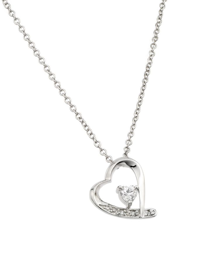 207 best womens pendants images on pinterest gems jewel and all 925 sterling silver clear cubic zirconia rhodium plated heart pendant necklace aloadofball Images