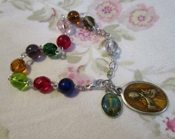 Rosary Bracelet Chaplet St Teresa De Avila 8mm Multicolor Glass Cathollic Religious Jewelry Patron Saint by aRosaryGarden on Etsy