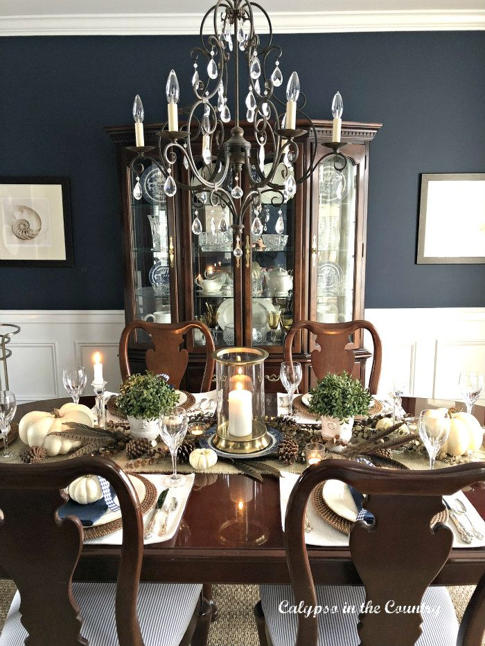 Formal Navy Dining Room Decorated For Thanksgiving Dinner Thanksgivin Dining Room Table Centerpieces Formal Dining Room Table Formal Dining Room Table Decor