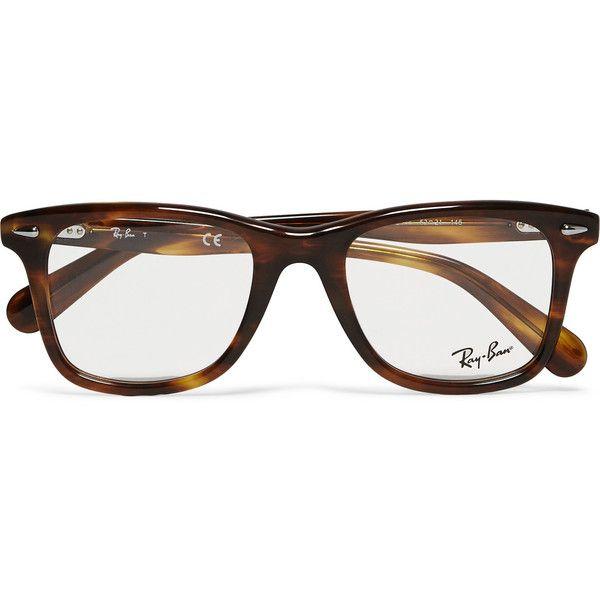 Ray-Ban Original Wayfarer Square-Frame Acetate Optical Glasses ($200) ❤ liked on Polyvore featuring men's fashion, men's accessories, men's eyewear, men's eyeglasses, accessories, glasses, tortoiseshell, ray ban mens eyeglasses and mens tortoise shell eyeglasses