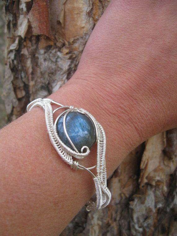 Labradorite Wire Wrap Bracelet in Sterling Silver