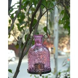 Shop for Glass and Brass Purple Hanging Lantern (India). Ships To Canada at Overstock.ca - Your Online Garden