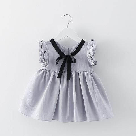 Baby girl party dress fly sleeve bow