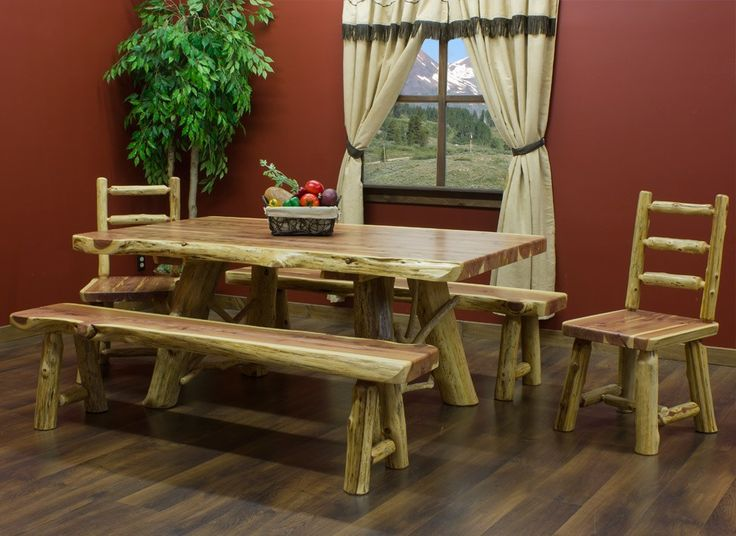 Superior Red Cedar Log Dining Table And Matching Chairs And Bench Is Constructed  Mainly Of Aromatic Red