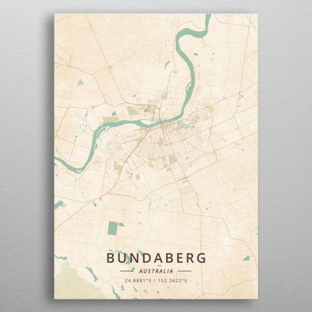 Bundaberg Australia By Designermap Art Metal Posters Vintage