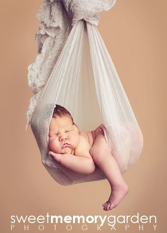 Dusty Gray Cheesecloth Baby Wrap or Hanging Baby Hammock   (Composite Shot - Do NOT do without spotters and cloning out support and safety measures!)