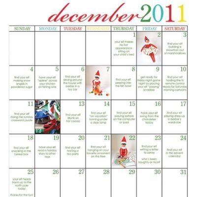 Elf on The Shelf Calendar of Ideas {For Christmas}