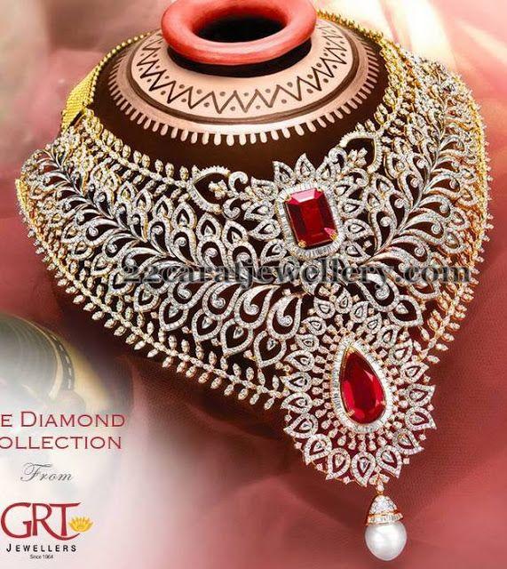 Jewellery Designs: Maharani Choker in Diamonds