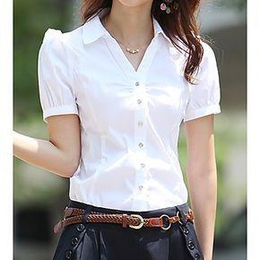 Camisa estilo coreano con cuello en V manga Puff corto para mujeres – USD $ 15.39