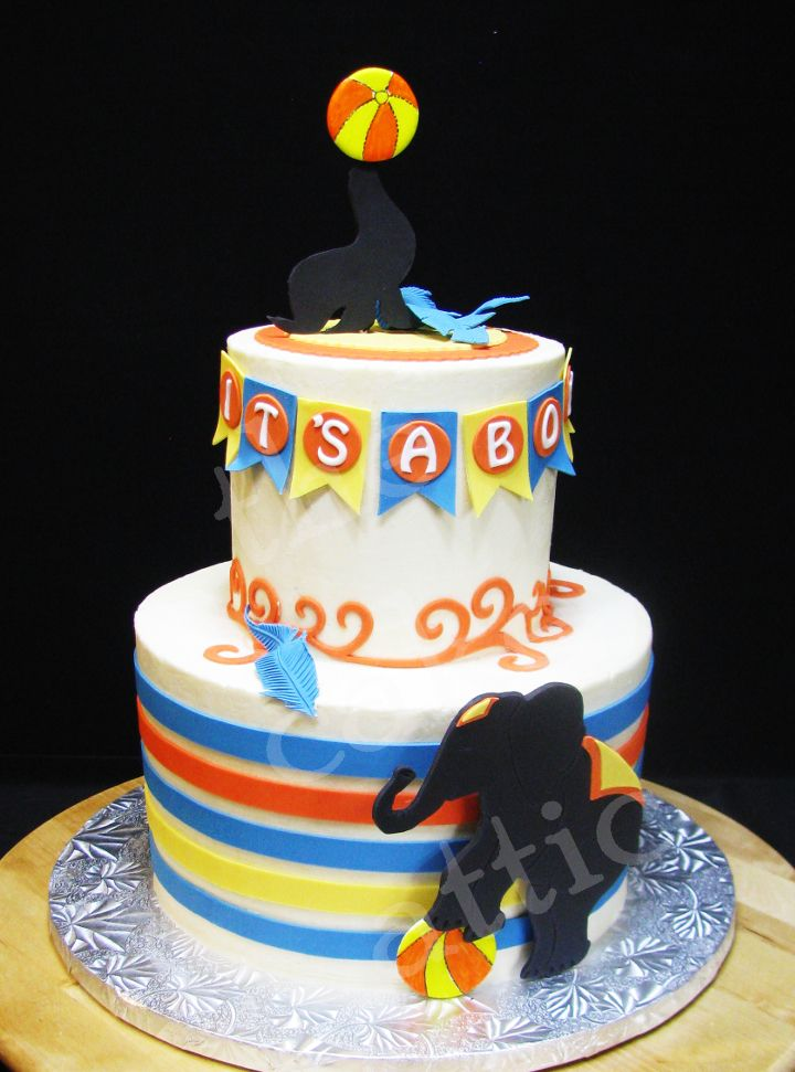 Circus themed baby shower cake inspired by the invitations. By thecakeattic.com in Salisbury & 14 best The Cake Attic/Baby Shower Cakes images on Pinterest | Baby ...