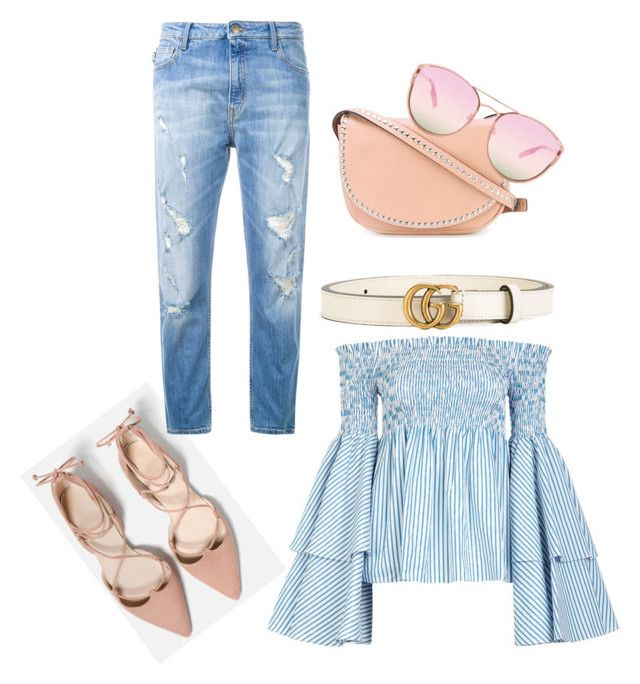 """""""Nude Jeans"""" by kd-kissi on Polyvore featuring Love Moschino, RED Valentino, Caroline Constas, Gucci and Quay"""