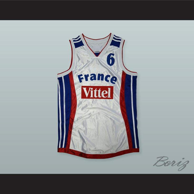 "Antoine Rigaudeau 6 Eurobasket France Basketball Jersey. STITCH SEWN GRAPHICS  CUSTOM BACK NAME CUSTOM BACK NUMBER ALL SIZES AVAILABLE SHIPPING TIME 3-5 WEEKS WITH ONLINE TRACKING NUMBER Be sure to compare your measurements with a jersey that already fits you. Please consider ordering a larger size, if you prefer a loose fit. HOW TO CALCULATE CHEST SIZE: Width of your Chest plus Width of your Back plus 4 to 6 inches to account for space for a loose fit. Example: 18"" wide chest plus 18"" wide…"