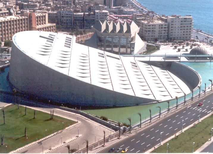 Bibliotheca in Alexandria, Egypt. This Library holds millions of books, along with a Planetarium, and four other museums.