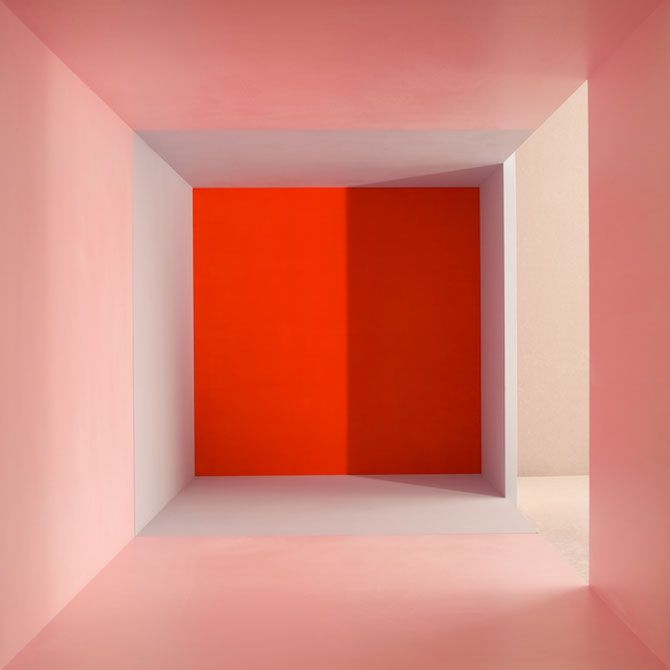 Erin O'Keefe, Pink Grey Red Side Light Shadow (2011) from the Empty series.