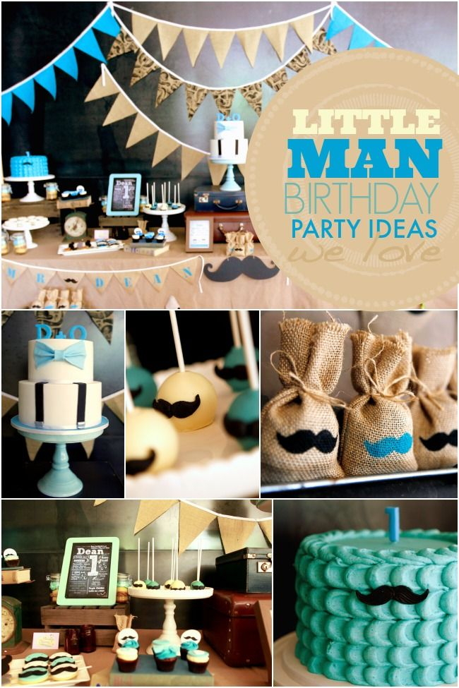 Planning a party for a special little gentleman's first birthday? Get the look by pairing vintage decorations and props with sweet mustache inspired cakes and treats!