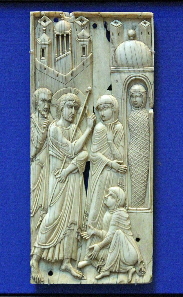 Probably made in Venice, this ivory panel was carved in a Byzantine style. Byzantine craftsmen were much in demand in Italy. The panel shows Christ with a hand raised, the other hand holding a staff. Behind him a bearded apostle and before him Mary and Martha, kneeling with hands extended in supplication. In a small shrine with cupola stands the swathed body of Lazarus. Venice (?), 9th century AD or earlier. Octobre 4, 2012, Canon 7D.