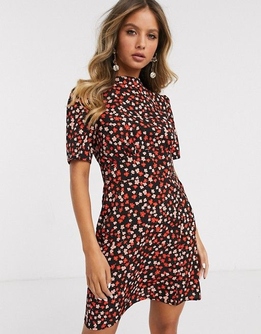 Asos Design Mini Tea Dress With Buttons In Floral Print Asos In 2020 Tea Dress High Fashion Street Style Dresses For Work
