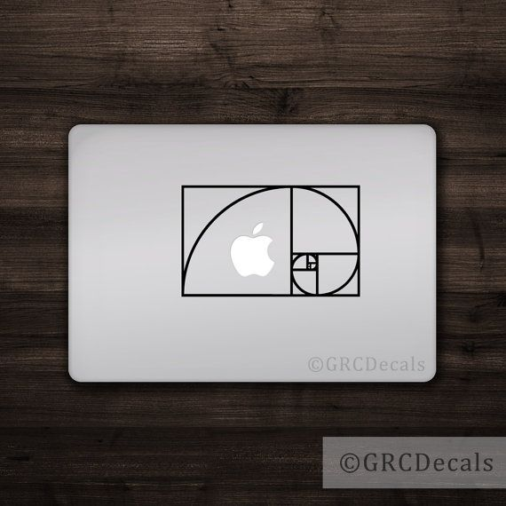 Fibonacci spiral mac apple logo cover laptop vinyl decal sticker macbook unique science math engineering