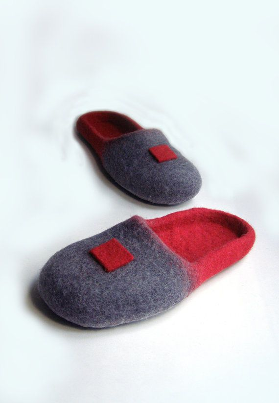 Felted wool slippers. Handmade.