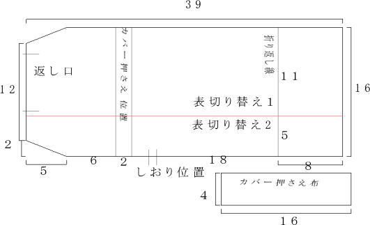 布製ブックカバー製図
