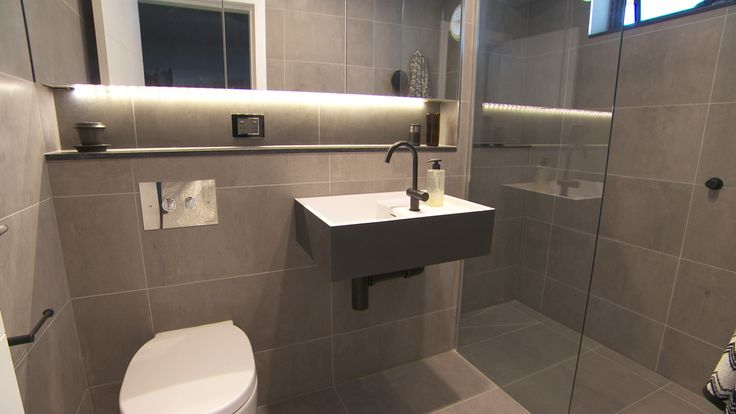 Madi Jarrod 39 S His Hers Ensuites The Block Sky High Reece Bathrooms Pinterest Sky