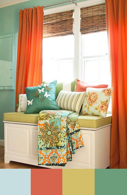 Cute color combination suggestions! and nice placement of loveseat/trunk.