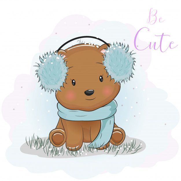 Cute Cartoon Bear With Fur Headphones And Scarf Cute Cartoon Drawings Teddy Bear Cartoon Cute Bear Drawings