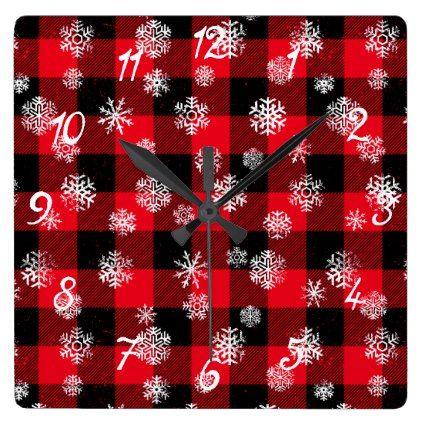 Snowflake Buffalo Plaid Red Square Wall Clock - Xmas ChristmasEve Christmas Eve Christmas merry xmas family kids gifts holidays Santa