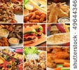 stock photo : Collage of pub food including cheese burgers, wings, nachos, fries, pizza, ribs, deep fried prawns and calamari.