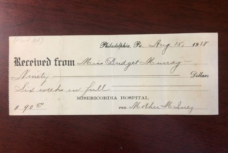 This is really something! Misericordia (Mercy Philadelphia) Hospital's first receipt from 1918. The patient stayed 6 weeks in the hospital and the bill was $90. #ThrowbackThursday #tbt #100YearsOfMercy #CenturyOfMercy #Centennial