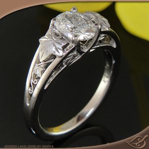 love this lotr esque ivy leaf split shank mounting engagement ring