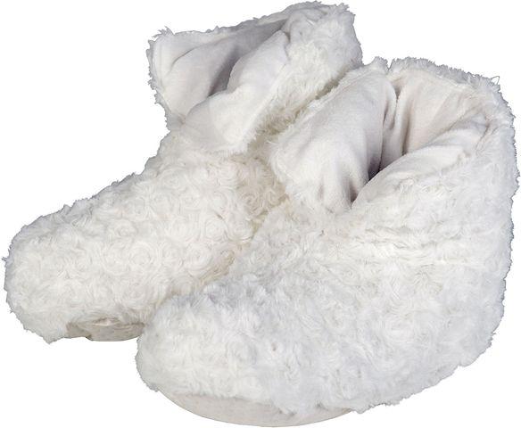 Duntofflor, varma och mjuka i vit fuskpäls. (artnr 3107478)