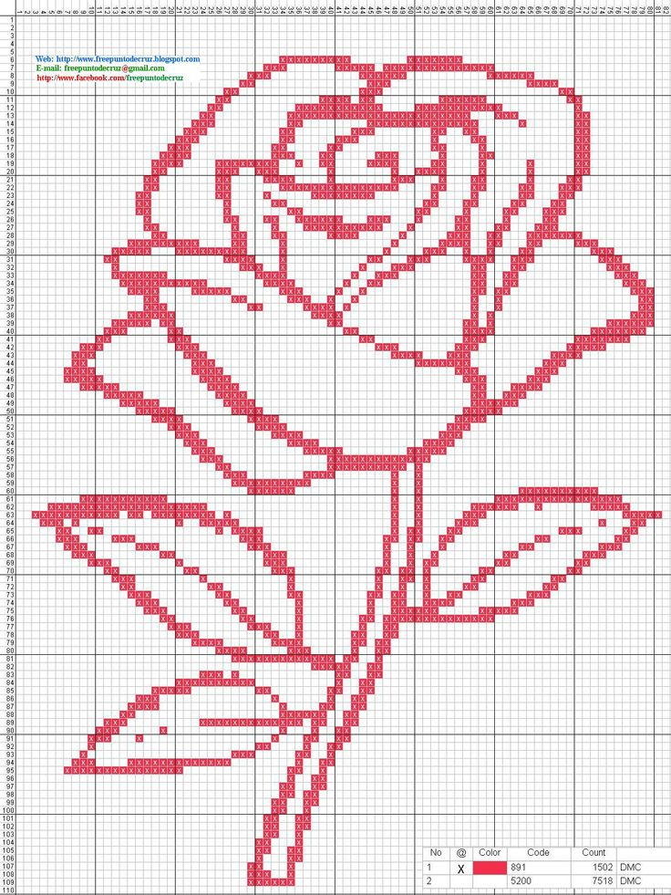 Rosa roja en punto de cruz